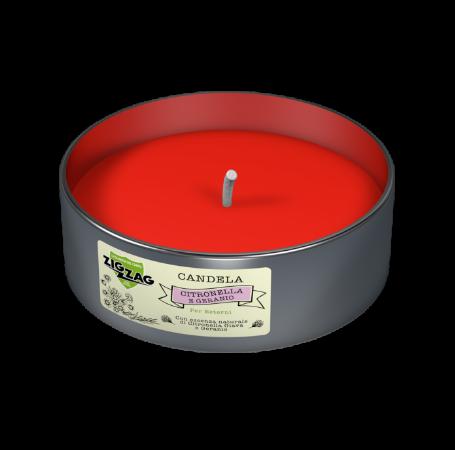 Zig Zag Candela Antizanzare per esterni all'olio essenziale di Citronella Giava e Geranio in lattina.