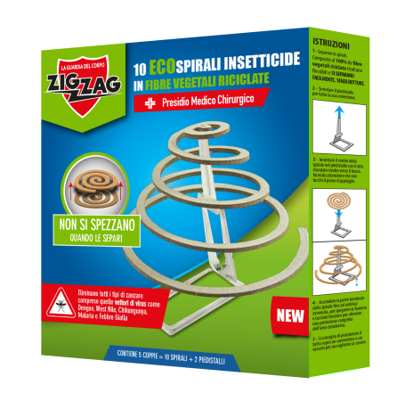 Zig Zag 10 Insectic Spirals Support 100% Vegetable Fibers