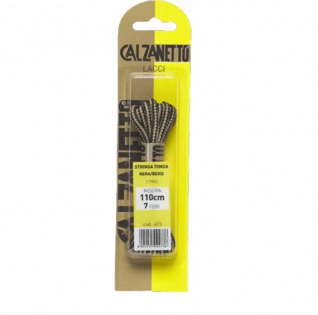 Calzanetto Round lace 110 cm - Black/Beige